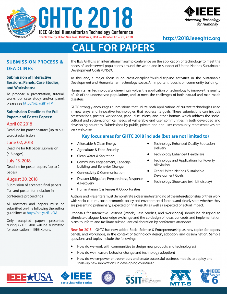 Call For Papers | GHTC 2018